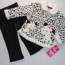 YOUNG HEARTS Girl's 24 Months Fleece Faux Fur Dalmation Puppy Outift NEW