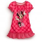 DISNEY Girl's Size 4 Pink Dot Snowflakes MINNIE MOUSE Nightgown, NEW, NWT