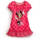 DISNEY Girl's Size 5/6 Pink Dot Snowflakes MINNIE MOUSE Nightgown, NEW, NWT