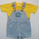 LIBERTY Boy's 12 Months Yellow Shirt and Striped Denim Shortalls Outfit, Set