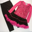 KNITWORKS Girl's Size 4 Pink Zebra Sequin Tutu Tunic Leggings Outfit, Set, NEW