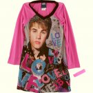 JUSTIN BIEBER Girl's Size 7/8 Love J.B. Nightgown with Rubber Bracelet, NEW