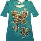 KNITWORKS Girl&#39;s Size Large (Size 14) Blue Turquoise Butterfly Glitter Shirt NEW