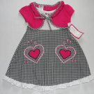KID ZONE Girls 3T Pink Shrug Checkered Seersucker Dress, Hearts, NEW