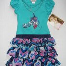 YOUNGLAND Girl's Size 4 Tiered Turquoise Feather Necklace Dress, NEW
