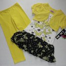 GIRL CODE Girl's Size 4 Yellow Shrug Butterfly Tunic DressLeggings Outfit, Set