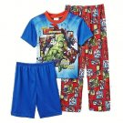 MARVEL AVENGERS Boy's Size 8 3-Piece Pajama Shorts, Pants, Top Set, NEW