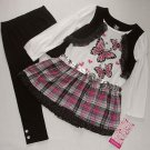 YOUNG HEARTS Girl's Size 4 Butterfly Shrug Tunic, Leggings Set, Outfit, NEW