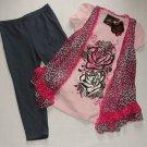 SELF ESTEEM Size 6 Floral Shirt, Leopard Vest, Jeggings Pants Set, Outfit, NEW