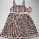 BLUEBERI BOULEVARD Girl&#39;s Size 6 Brown White Checkered Sundress, Dress, NEW