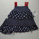 POLKATOTS Girl&#39;s 18 Months Navy Blue Star Polka Dot Americana Dress Set, NEW