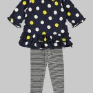 CARTER'S Girl's Size 24 Months Navy Dot Tunic, Striped Leggings Set, Outfit, NEW