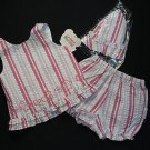 CUDDLE BEAR Girl's 24 Months Striped Gingham Shorts, Top Hat Set, Outfit, NEW