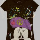DISNEY MINNIE MOUSE Size L 10-12 Black Peace T-Shirt, Shirt, NEW