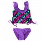 2B REAL Girl's Size 3 Purple Leopard Tankini Bikini Bathing Suit, NEW