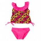 2B REAL Girl's Size 4 Pink Leopard Tankini Bikini Bathing Suit, NEW