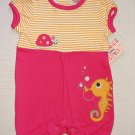 CARTER'S Watch the Wear Girl's 3-6 Months Seahorse Turtle Romper, One-Piece, NEW