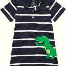 CARTER'S Boy's 12 Months Striped Dinosaur Romper, One-Piece, NEW