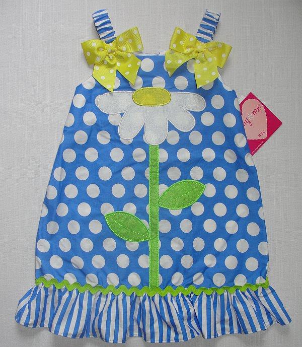 JENNY & ME NYC Girl's Size 4 Blue Dot Daisy Sundress, Dress, NEW