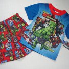 MARVEL AVENGERS ASSEMBLE Boy's Size 6/7 Pajama Short Set, IRONMAN, HULK NEW