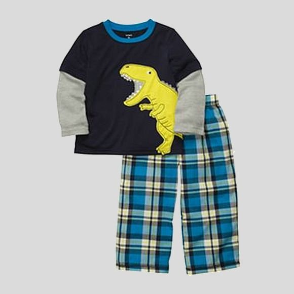 CARTER'S Boy's 3T Mock-Layer DINOSAUR Plaid Pajama Pants Set, NEW