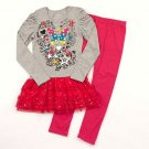 ONE STEP UP Girl's Size 5/6 Gray Butterfly Tunic Pink Leggings Outfit, Set, NEW