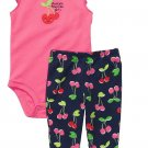 CARTER'S Girl's 9 Months AUNTIE'S FAVORITE GIRL Cherry Pants Set, Outfit, NEW