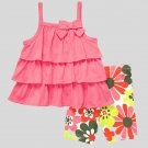 CARTER'S Girl's Size 3T Pink Tiered Tunic Top, Floral Capri Pants Set, NEW