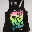 JUSTICE Girl's Size 10 Black Tank Top, Shirt, Hearts and Peace Signs, NEW