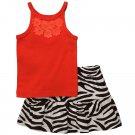 CARTER'S Girl's Size 3T Orange Floral Tank Top, Zebra Print Skort, Skirt, NEW