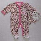 BEST BEGINNINGS Girl's Size Newborn Baby Cheetah Romper, Bath Mitt, Set, NEW