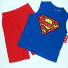 DC COMICS Boy's Size 4/5 SUPERMAN Tank Pajama Top, Shorts Set, NEW