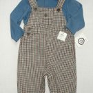 LITTLE ME Boy's Size 6 Months Blue Shirt, Flannel Plaid Overalls Set, NEW
