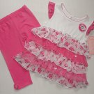 NANNETTE GIRL Size 4T Pink Tiered Floral Tunic, Leggings Set, Outfit, NEW