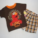 SESAME STREET ELMO RULES Boy's Size 4T Plaid Shorts Set, Outfit, NEW