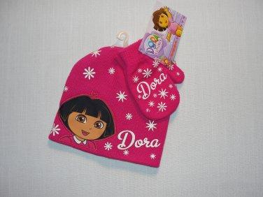 NICKELODEON DORA Girl's Toddler Pink Snowflake Knit Beanie, Mitten Set, NEW