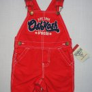 OSHKOSH B'GOSH Boy's Size 12 Months Red Cargo Shortalls, NEW, MSRP: $32.00