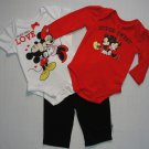 DISNEY Girl's Size 0-3 Months MINNIE And MICKEY 3-Piece Bodysuit, Pants Set, NEW