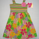 YOUNGLAND Girl's Size 5 Colorful Striped Floral Sundress, Dress, NEW