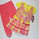 GIRL CODE Size 5 Butterfly Tiered Skirt Tunic Shirt, Leggings Set, Outfit, NEW