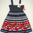 YOUNGLAND Girl's Size 6 Navy Blue Striped, Dot Floral Sundress, Dress, NEW