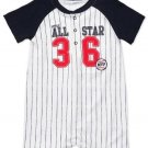 CARTER'S Boy's 3 Months Baseball All-Star Striped Romper, Shortalls, NEW