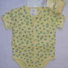 BRIGHT FUTURE Girl's 3-6 Months Yellow Floral Bodysuit Romper, Booties Set, NEW