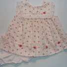 LITTLE BITTY Girl's 12 Months Pink Floral Lace Eyelet Roses Dress Set