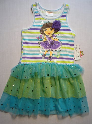 NICKELODEON Girl's DORA and BOOTS Size 5 Blue Tutu Dress, Sundress, NEW