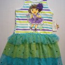 NICKELODEON Girl's DORA and BOOTS Size 4 Blue Tutu Dress, Sundress, NEW