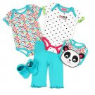 CARTER'S WATCH THE WEAR  0-3 Months 5-Piece PANDA Outfit, Bib, NEW