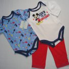 DISNEY MICKEY 6-9 Months Born To Be Awesome 3-Piece Shirt, Pants Set, Outfit NEW