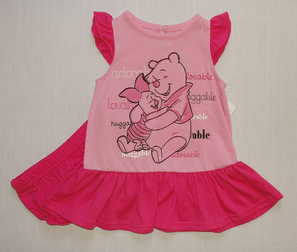 DISNEY WINNIE THE POOH And PIGLET Girl's Size 3-6 Months Pink Dress Set, NEW