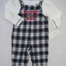 WALT DISNEY WORLD MICKEY 18 Months Plaid Flannel Overalls, Shirt Set Outfit, NEW